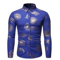 Erkek Casual Gömlek Erkek Bronzlaşan Tavuskuşu Tüy Baskı Uzun Kollu Bluz Erkek Parti Elbise Çiçek Sonbahar 1