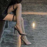 Mobetty Diamond Fishnet Women Boots Over-the-Knee Short Brillo Stiletto Tacones Altos Malla Sandles transpirables Botas Feminina