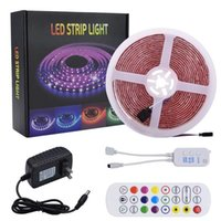 New 5M LED Strip Lights RGB Strips Tape Light 150 LEDs SMD5050 Waterproof Bluetooth Controller + 24Key Remote Control Holiday Lighting