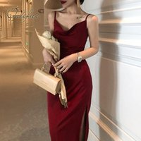 Casual Dresses Ordifree 2021 Sommer Vintage Frauen Satin Slip Kleid Spaghetti Strap Black Burgund Seide Sexy Lange Party