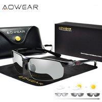 النظارات الشمسية aowear pochromic الرجال الاستقطاب الحرباء نظارات الذكور تغيير اللون الشمس hd يوم الرؤية الليلية القيادة eyewear1