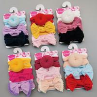 Nylon largo bebê headbands terno filhós grandes arcos lace kids headwear conjunto moda meninas elástico faixa de cabelo de Natal acessórios 8 3my g2