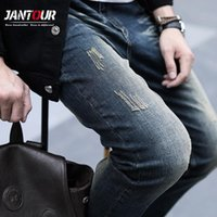 2021 New Men Stretch Blue Jeans Men Spring Summer Brand Casual Ripped Slim Denim Trousers Jean For Male Size 36 38