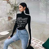 Xibani gündelik mektup baskı üst kadın yüksek boyunlu siyah ve beyaz kontrast dibe sonbahar sonbahar kış gömlek ile uzun kollu