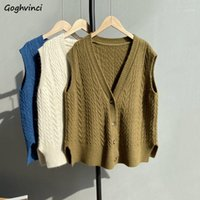 Knitted Sweater Vest Women Japanese- style Loose Leisure Soli...