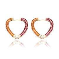 Hip Hop Ohrringe Trendy Mode 18K Gold Rhodium Überzogene Kupfer Herz Form Luxus Frauen Bling Zirkon Herz Ohrringe Schmuck