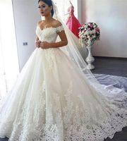 2021 Plus Größe Brautkleider Eine Linie Luxus Spitze Ball Kleid aus der Schulter Brautkleider Schatz Lace Up Zurück Prinzessin Brautkleider