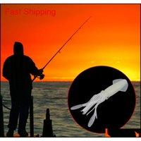 Venta al por mayor 10 cm / 9 g de pesca suave pulpo de los cuerpos de calamares Faldas luminosas cebos brillan en silicona oscuro suave cebo jbrdb zwxbw