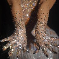 Пять пальцев перчатки роскошные растягивающие стразы Женщины Sparkly Crystal Mesh Длинные танцовщицы Singer NightClub танцевальная сцена шоу аксессуары1