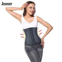 JECECER Modeling Strap Corset Latex Treinador de cintura com zíper Belly Slimming Bainha Cintura Cincher 25 Aço Shaper Boned 201211