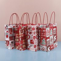 Christmas Paper Gift Bag Kraft Paper Bag with Handle Santa C...