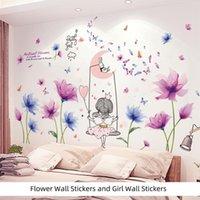 Etiquetas engomadas de la pared [Shijuekongjian] Dibujos animados Girl DIY Flores Plantas Mural Calcomanías para niños Dormitorio Sala de estar Decoración de la casa