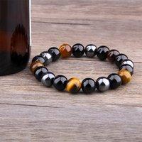 Natural Negro Onyx con piedra natural Hematita Piedra Tigre ojo Perineado Strand Wrap Wrap Buddha BraceletsBangles Jewelry 2212 Q2