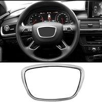 Frame do logotipo do centro do volante do carro para AUDI A3 A4L A6L A8 Q3 Q5 Q7 Cisteração do volante Aparagem da decoração do anel do carro 3D do carro