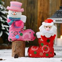 Рождественские украшения украшения мультфильм Санта снеговика головы ткань сапоги рождественские дети конфеты подарка сумка елочные кулонные чулки DHB3576
