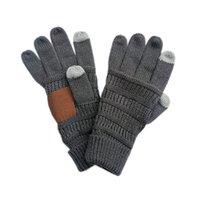 Вязаные зимние перчатки унисекс дизайнеры с сенсорным экраном перчатка палец сгущает теплые растягивающие шерстяные варежки мода взрослых вязание перчатки F120504