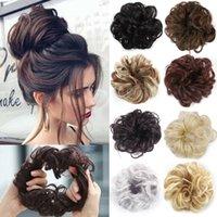 Cabelo bagunçado coque extensões de cabelo scrunchy anel sintético wrap chignon mulheres preto marrom alta temperatura fibra diy ferramenta de penteado
