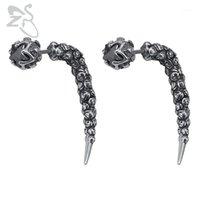 ZS gothique style style goujon boucles d'oreilles de style gothique faux bouchons en acier inoxydable homme bijoux 1 paire punk boucle d'oreille rock rouleau oreille bijoux1