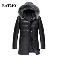 BATMO 2020 new arrival natural sheepskin real leather fur collars 90% white duck down hooded jackets men,818