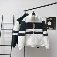 Yeni Erkek ve Bayan Ceketler Moda Eğilim Pamuk Kumaş Sıcak Ve Rahat Siyah ve Beyaz Dikiş Çizgili Kapitone Kuzu Yün Ceket