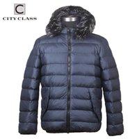 Herren Down Parkas City Class Klassische Marke Winter Männer Mantel Businessjacke Abnehmbare Haubenfell Mode für männlich CC6075
