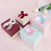Cajas de regalo de la joyería con cinta Bowknot Pendientes Anillos de joyería Collares Collares Pulsera Pulsera Packaging Box Regalo