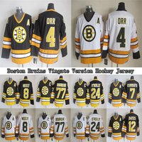 Boston Bruins CCM Vintage Formalar 4 ORR 8 Neely 7 Esposito 24 O`Reilly 77 Bourque 12 Oates Erkek Hokey Formaları