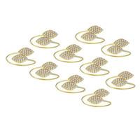 Кольца салфетки 10 шт. Кольца, Rhinestone Serviette Rings, Свадебные вечеринки Ужин Пряжки, Держатель формы листьев, Золото