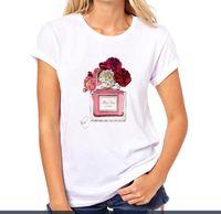 티셔츠 여성 꽃 향수 티셔츠 여자 면화 반팔 캐주얼 여성 티셔츠 플러스 사이즈 탑 티셔츠