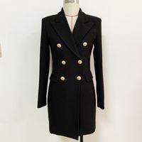 Top Quality Original Design Damen Anzug Arbeitskleid Metallschnallen Doppelreimed Slim OL Style Back Zipper Schwarz Karriere Kostüm