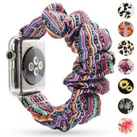 Floral Scrunchie Watchband Leopard / بلون بلون / شريط scrung`hie القماش الأزياء الأزياء المعصم 38 متر 42 ملليمتر ل iwatch 4/3/2/1 33 الألوان