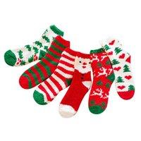 Рождественские носки зима теплые бархатные носки мягкие домашние тапочки носок противоскользящий напольный чулок для средней трубки рождественские украшения HH9-3588