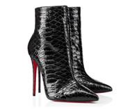 أنيقة الشتاء النساء الأحمر أسفل الأحذية حتى كيت الغنائم 120 ملليمتر بيثون الجلود الكاحل الأحذية الكعوب الأسود سيدة الجوارب مثير حزب، الزفاف