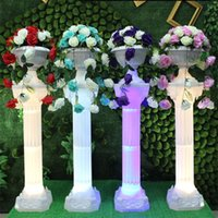 Wedding Decoration Supplies White Plastic Roman Column Road Lead LED Glow Pillars For Party Stage Welcome Area Props 2 PCS