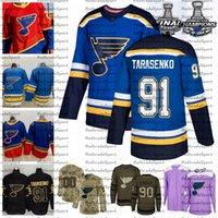 2021 Reverse Retro Personalizar 91 Vladimir Tarasenko St. Louis Blues Champions Hóquei Jersey Edição Golden Camo Veterans Dia Lutas Câncer