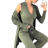 Taovk Otoño Punto 3 piezas Conjunto Mujeres Cardigan de manga larga y tops y pantalones sin mangas Sits1