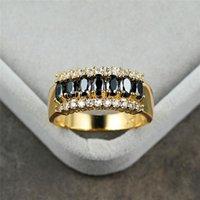 Старинные мужские женские черные хрустальные каменные кольца винтажные 14kt желтые золотые обручальные кольца для женщин классический большой овальный обручальный кольцо