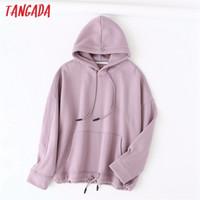 Tangada 2020 autumn winter women lavender cotton fleece hoodie sweatshirts ladies oversized pullovers pocket hooded tops LJ201120