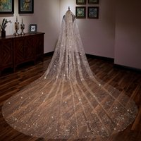 Chammpange Luxury Suadi Arabic 4M Long Cathedral Wedding Veils Soft Tulle One Layer For Bridal Veil