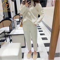 SMTHMA Yüksek Kalite Yeni Kış Kadın Kaşmir Kazak Iki Parçalı Örme Setleri Eşofman Moda Tişörtü Spor Takım Elbise Y200110