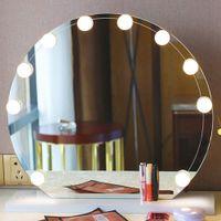화장대 거울 전면 라이트 할리우드 메이크업 미러 LED 전구 USB 인터페이스 6/10/14 전구, 조정 가능한 색상 (미러를 포함하지 않음)