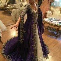 2021 Robes de bal à manches longues en dentelle arabe à manches longues avec broderie Muslim Dubai Fête Robes de soirée Turc Glamour pourpre Turquie Formel