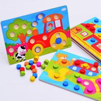1 세트 목조 장난감 퍼즐 Tangram 지그 소 사의 보드 교육 조기 학습 만화 나무 퍼즐 어린이를위한 어린이 장난감