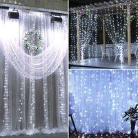 18 متر × 3 متر 1800-LED دافئ أبيض فاتح رومانسية عيد الميلاد الزفاف الديكور الستار سلسلة ضوء الولايات المتحدة القياسية الأبيض ZA000939 عطلة