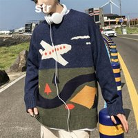 ZAZOMDE Cuello redondo Suéter de invierno para hombres impresos de gran tamaño Hip Hop Suéteres Men's Wool Blusas suéter azul y negro 201028