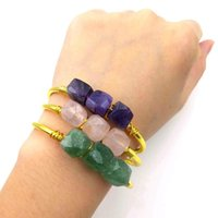 Bangle Natural Crystal Gemstone Wire Wrap Handmade Amazonite Prehnite Citrine Rose Quartz Amethyst Jewelry Charm
