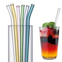 Ensemble de paille en verre élevé de borosilicate réutilisable Paille de boisson transparente transparente écologique pour Smoothies Cocktails Bar Accessoires paille
