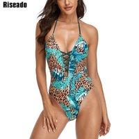 Einteilige Anzüge Riseado Lace Up Sexy Einteiler Badeanzug Halfter Swimwear Frauen Leopard Schwimmen Anzug Für Backless Beachwear 2021 Sommer