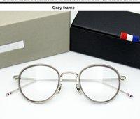 Hautes femmes lunettes designeur hommes alliage cadre lunettes de la marque de rétro qualité ronde lecture grau tb905 oculos lunettes myopia abkqv
