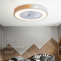 Ceiling Fans Nordic Minimalist Fan Light Invisible Macaron Living Room Dining Bedroom Led Household